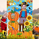 Blulu Thanksgiving Photography Backdrop Pumpkin Photo Background Fall Harvest Decoration Large Scarecrow Background Autumn Party Supplies with 6 m Rope, 59 x 39.4 Inch