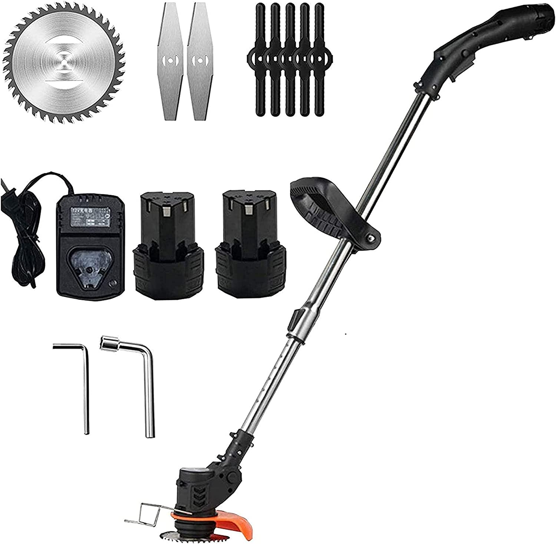 LXNQG Trimmer lectric 21V / 3900mAh Batería y Cargador Incluido Portátil Profesional Cortacésped Mower Agricultura Cordonable Weeder Garden Tool (Color : 2 Batteries)