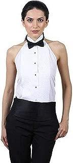 Women's Tuxedo Halter Shirt and Black Bow Tie Set