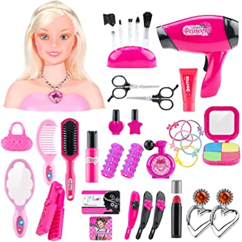 HYMAN Makeup Hairdressing Doll Styling Head Toy, Children