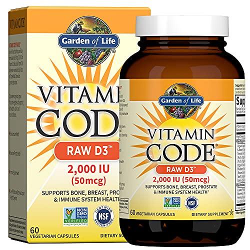 Garden of Life Vitamin Code, Raw D3, 2, 000 IU, 60 Veggie Capsules, 1 Units