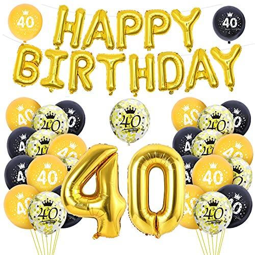 Ousuga 40 Globos Cumpleaños decoración, decoraciones de fiesta de cumpleaños de oro negro, globos de papel de aluminio gigantes con pancarta para hombres mujeres niñas fiesta de cumpleaños