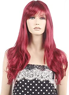 Fashian Wine Red Long Curly Hair Wig for Women Natural Looking Full Wig DIY Fun (Color : Wine red)