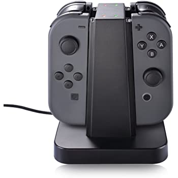 Nintendo Switch Joy Con Charger Dock, Sunix 4 in 1 Charging Stand with LED indication for Nintendo Switch Joy Con