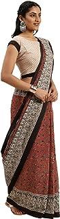 Pure Cotton Indian Handcrafted Kalamkari Print Saree Blouse Formal Woman Occasional Sari 6321 5