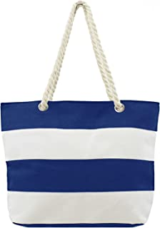 Large Canvas Shoulder Bag, Ladies Summer Bag, Beach Tote Bag with Water Resistant Lining, Cotton Rope Handles and Zipper T...