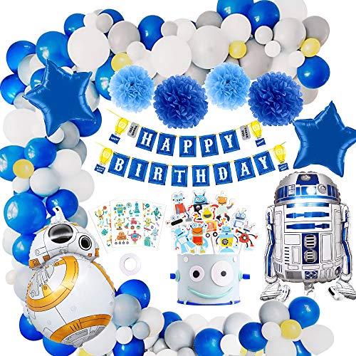 MMTX Decorazioni per Feste Robot, Blu Happy Banner di Compleanno Robot Aluminium Ballons Pompon di Carta e Cake Toppers Tatuaggi Bambini per Compleanno, Matrimonio, Baby Shower, Decorazioni