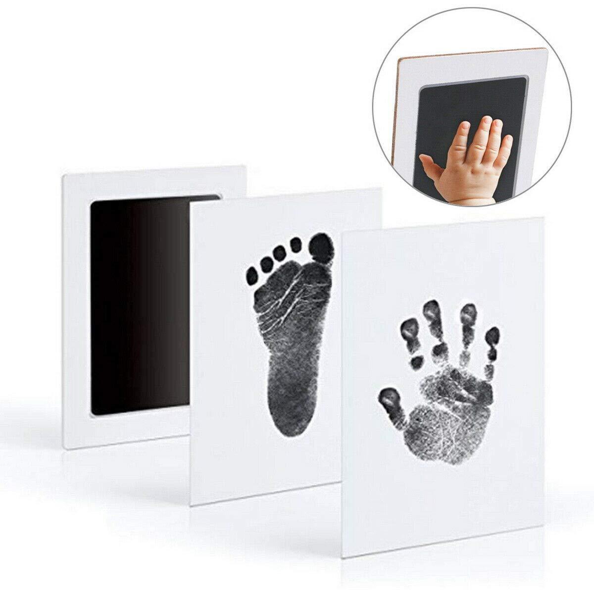 Baby Handabdruck und Fu/ßabdruck Set Baby Andenken,Handabdruck und Fu/ßabdruck Ungiftig Inkless f/ür Neugeborene 0-6 Monate M/ädchen und Jungen schwarz, 2.1inch*3.7inch