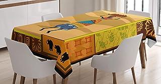 ABAKUHAUS Africain Nappe, chameaux Elephants, Linge de Table Rectangulaire pour Salle à Manger Décor de Cuisine, 140 cm x ...