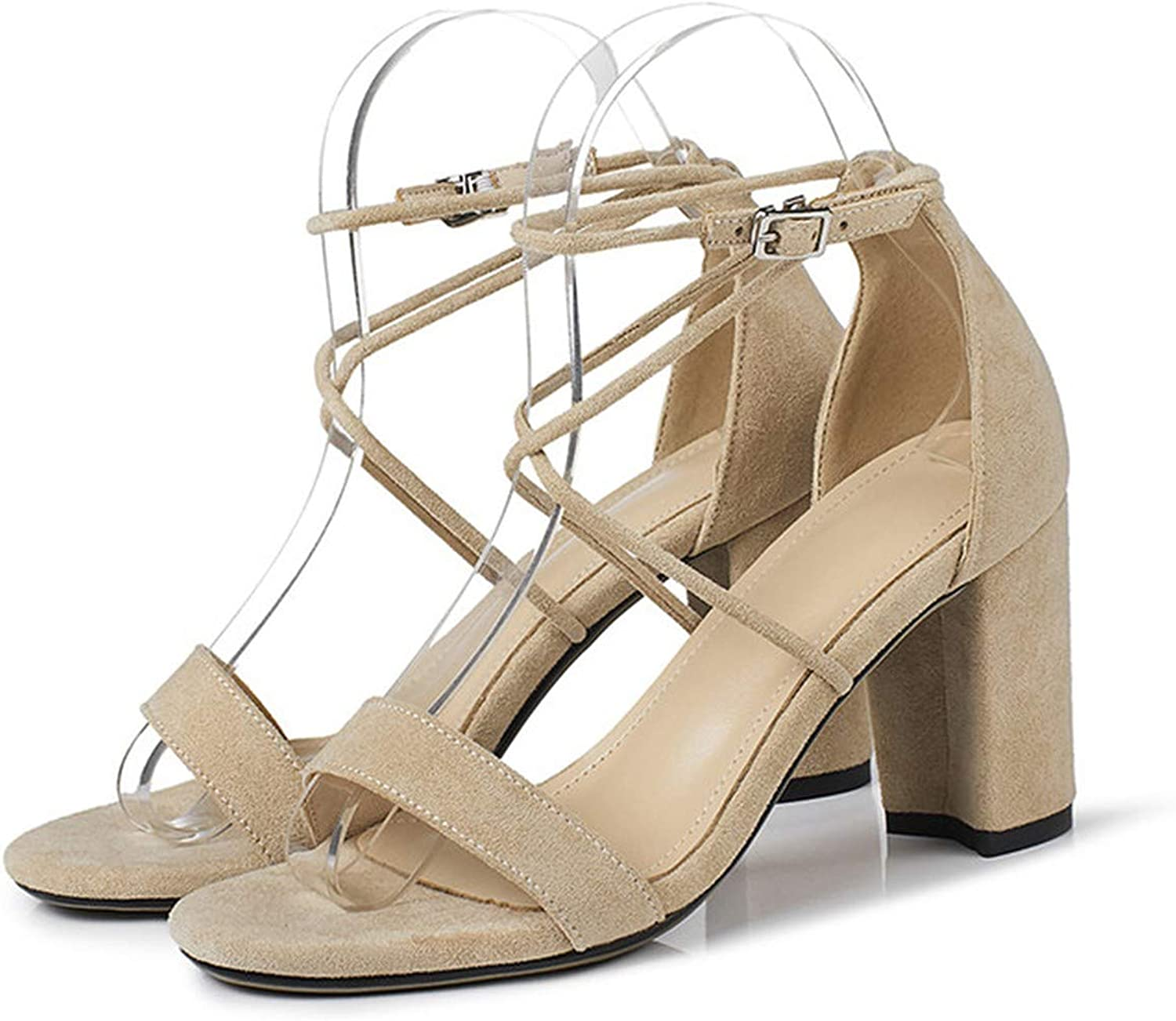 Summer Sandals Women shoes Cross-Tied Block High Heels shoes Sexy Buckle Open Toe Party Sandals,Apricot,4