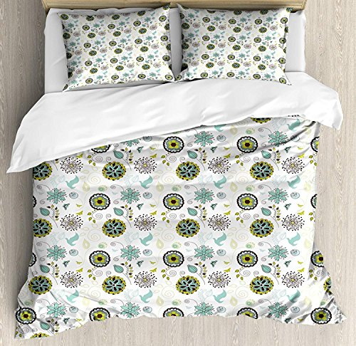 Yaoni Floral Duvet Cover Set 3 Piece Microfiber Comforter Quilt Bed Bedding Covers with Zipper, Bird and Butterfly Silhouettes with Flourishing Petals and Leaves Doodle Apple Green Brown Teal