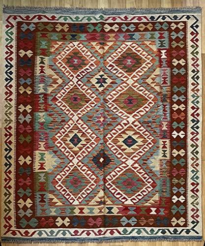 Alfombra oriental afgana, hecha a mano, de lana, colores naturales, estilo afgano, turco, nómada persa, tradicional, 157 x 193 cm, estilo vintage, pasillo y escalera reversible