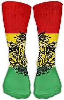 Bigtige, Hombres Mujeres Clásicos Calcetines de equipo Reggae Rasta Flag Lion Calcetines deportivos personalizados 50cm de largo-Toda la temporada