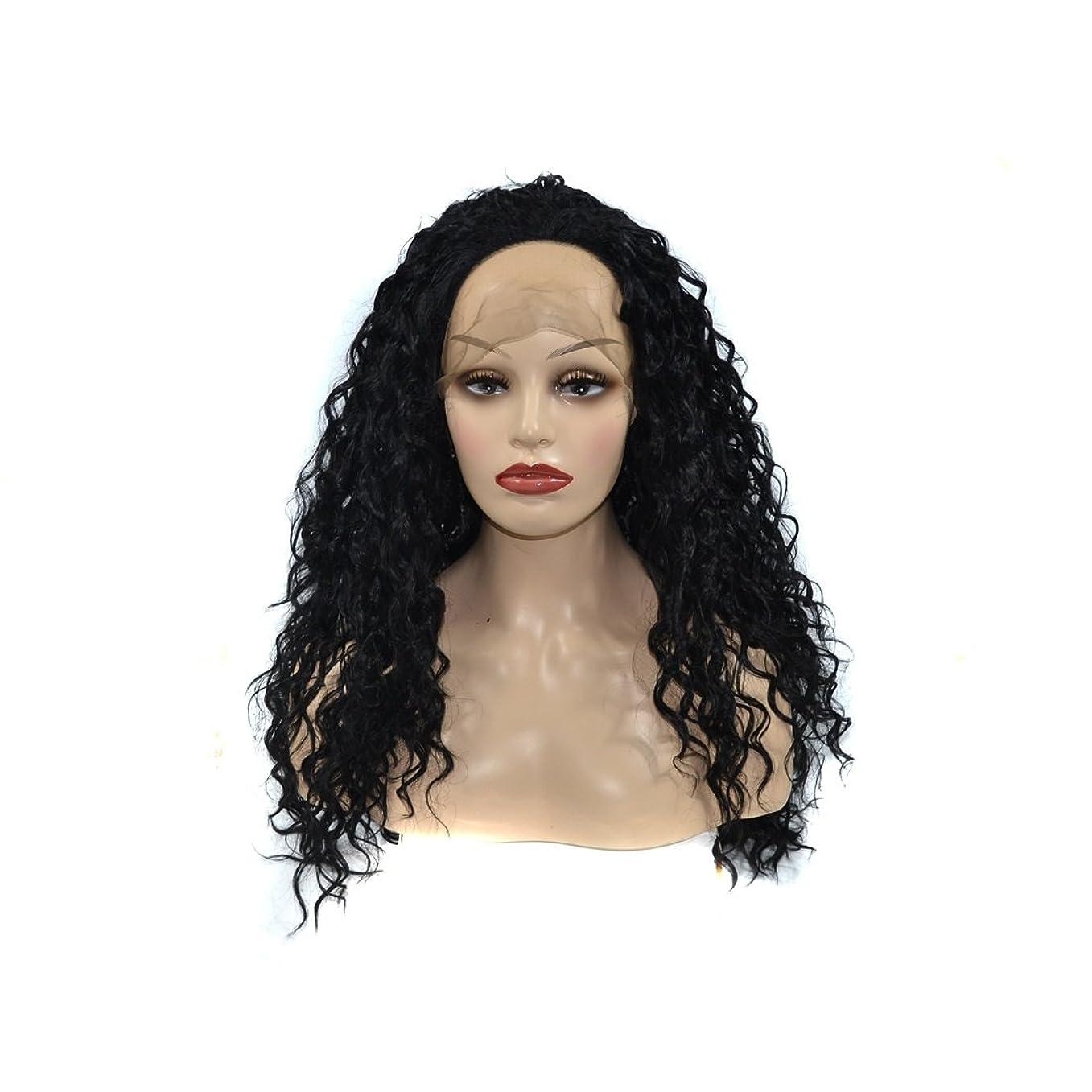 祭司イヤホンネクタイJIANFU レースフロントブラックヘア高温スラック合成髪フラットバンズウィッグヘア耐熱26インチ長いカーリーウィッグ女性用 (Color : ブラック)