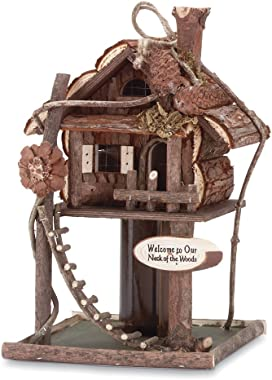 Gifts & Decor Wood Log Cabin Tree Bird House/Feeder