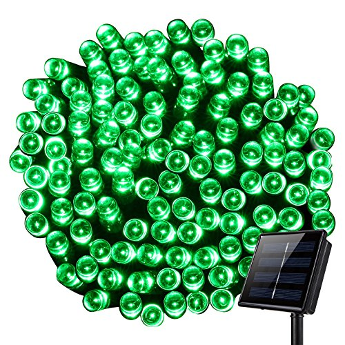 Solar Christmas String Lights, KINGCOO Waterproof Solar String Lights 72ft 22m 200 LED 2 Modes Fairy String Lights for Gardens Wedding Party Decoration - Green