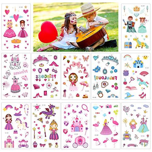Konsait Princesa niña Tatuajes Temporales niños, 220 Surtidos Castillo Unicornio Tatuajes...
