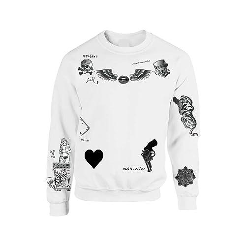 Allntrends Womens Sweatshirt 1D Zayn Malik Tattoo Small White