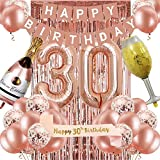 30th Birthday Decorations for Women, Rose Gold 30 Birthday Party Decoration for Her, 30th Happy Birthday Banner Kits Rosegold Balloons Decoration for Girls Women 30th Birthday Party Supplies