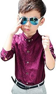 Iypurkmn 男の子シャツ 子供長袖ワイシャツ ボーイズ服 ホワイト 結婚式 入学式 入園式 卒業式 全3色 90cm-140cm
