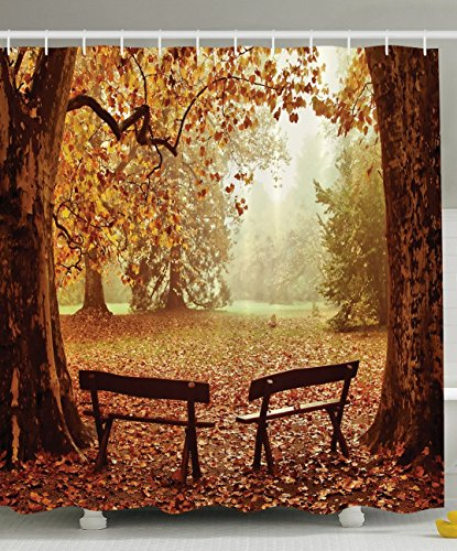 Ambesonne Scenic Decor Collection, Fall Foliage Leaves Benches Forest Tree View Nature Picture Art Paintings Effect Print, Polyester Fabric Bathroom Shower Curtain Set with Hooks, Brown/Yellow