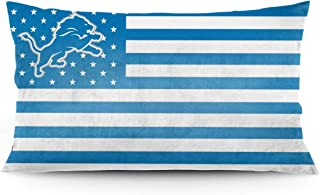 DVJEFB Stripe Star American Flag Football Team Bedding Pillow Covers Rectangular Pillow Cases for Home Couch Sofa Bedding Decorative - 20x36 Inches Detroit Lions