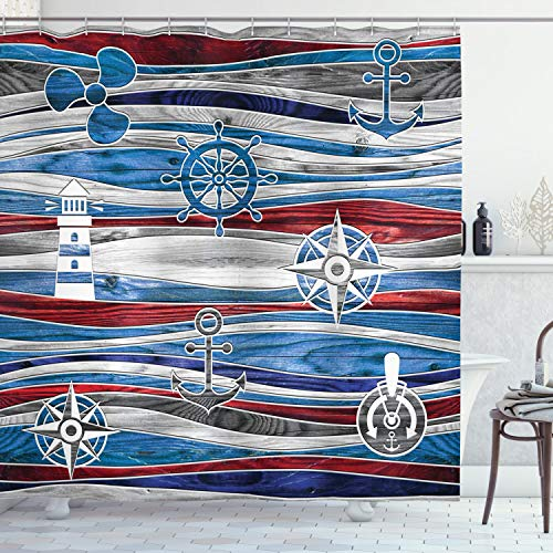 Ambesonne Anchor Shower Curtain, Shipping Boat Anchor Lighthouse Steering Wheel Compass on Waves Background, Cloth Fabric Bathroom Decor Set with Hooks, 75' Long, Grey Red