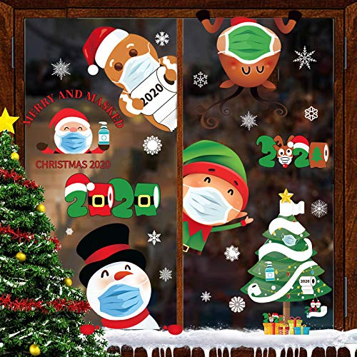 Joy Bang Christmas Window Clings Quarantine Christmas Window Clings for Glass 8 Sheets Christmas Window Clings Quarantine 2020 Window Decals Stickers for Christmas Quarantine Home Window Decorations