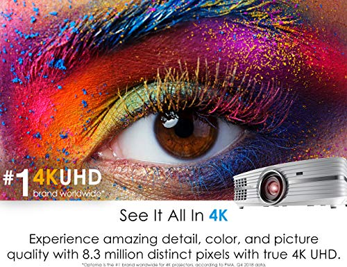 Optoma UHD60 True 4K UHD Projector, Bright 3000 Lumens, Entertainment and Movies, Rec.2020 with DCI-P3 for Wide Color Gamut, HDMI 2.0 and HDR10