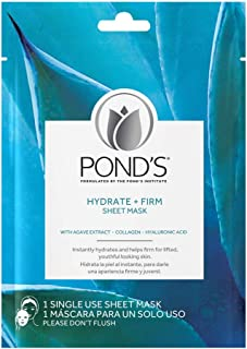 Set of 10 Sheets of Pond's Hydrate + Firm Masks - Formulated with Agave Extract, Collagen, and Hyaluronic Acid - Alcohol a...
