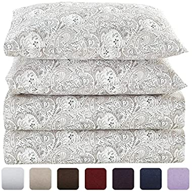 Mellanni Bed Sheet Set - HIGHEST QUALITY Brushed Microfiber 1800 Bedding - Wrinkle, Fade, Stain Resistant - Hypoallergenic - 4 Piece (King, Paisley Gray)