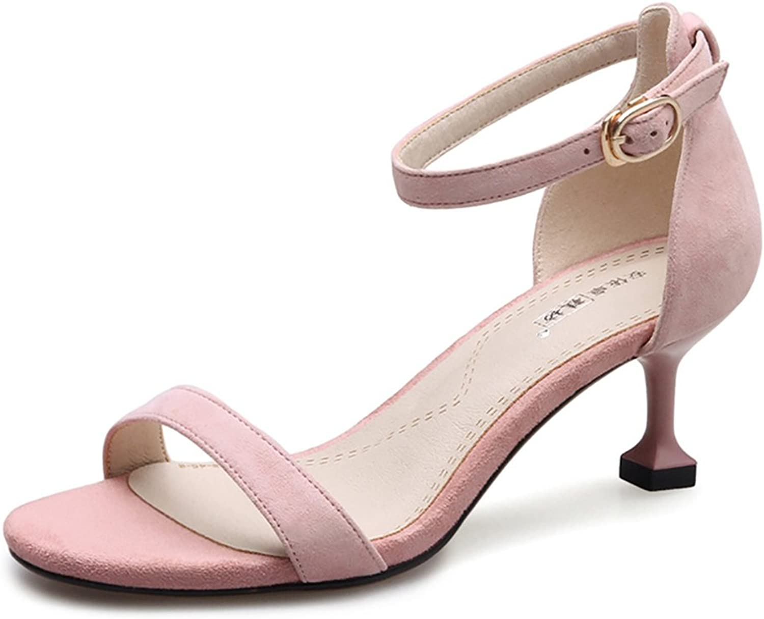 Roman Sandals Women Summer Elegant Ankle Straps With High Heels ( color   Pink , Size   36 )