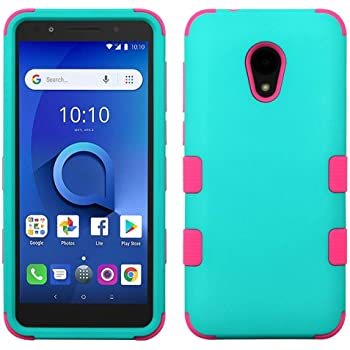 Bemz Heavy Duty Rugged Phone Case 1X Evolve with Tempered Glass Screen Protector and Atom Cloth idealXTRA Black//Purple Compatible with Alcatel TCL LX