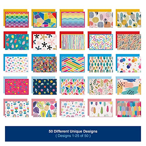 50 Blank Cards With Envelopes - Set of 50 Different 4x6 Inch Blank Greeting Cards w/Colored Envelopes & Gold Seals. Colorful Designs - No Repetition. All Occasion Note Cards with Envelopes Set