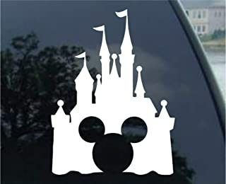 Disney Style Castle with Mickey Inspired Vinyl Car Window Decal Sticker (White)