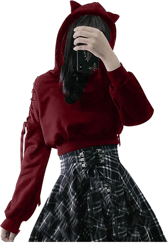 Xinantime Women's Cold Shoulder Blouse Cat Ear Pullover Hoodie Sweatshirt Drawstring Long Sleeve Cute Blouse Short Shirt
