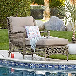 Classic Traditional Brown Resin Wicker Chaise Lounge for Pool Patio Sun Lounger Chaise Lounge with Gray Cushion