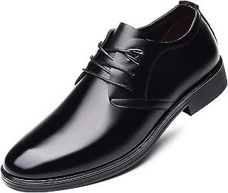 [luzhikang] ビジネスシューズ メンズ靴 高級 本革 通気快適 オールシーズン 就活 通勤 普段用 プレーントゥ 紳士靴 ブラック/ダークブラウン
