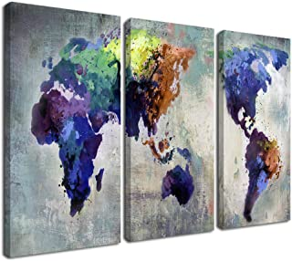 Ardemy Canvas World Map Wall Art Watercolor Map of The World Abstract Colorful Vintage Painting Pictures, Large 3 Panels A...
