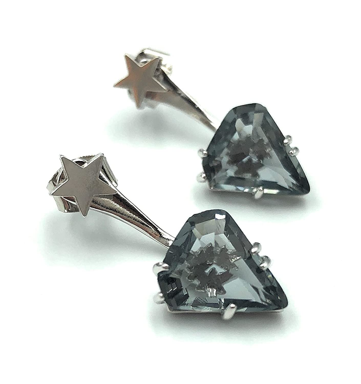 Double Sided High Japan Maker New material Rhodium Plated Brass Gray Triangle Earrings Jacket