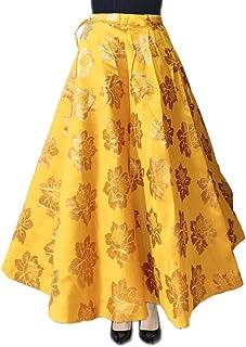 DB ENBLOC Women's Now Umbrella Cut Skirt for Party/Festival Function Yellow