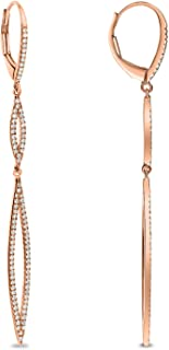 Diamond Couture AGS Certified 0.33 Carat 14K Rose Gold Diamond Dangle Earrings, Diamond Earrings for Women
