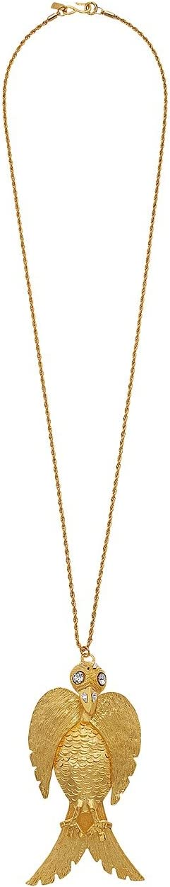 "32"" Satin Gold with Crystal Face Large Bird Pendant ""S"" Hook Necklace"