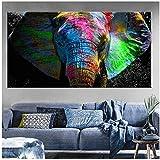Pintura sobre lienzo África Elefante Animal Paisaje Pintura sobre lienzo Pop Art Poster e impresión Cuadro de pared de arte abstracto decoración de sala de estar 27.5 'x55.1' (70x140cm) Sin marco