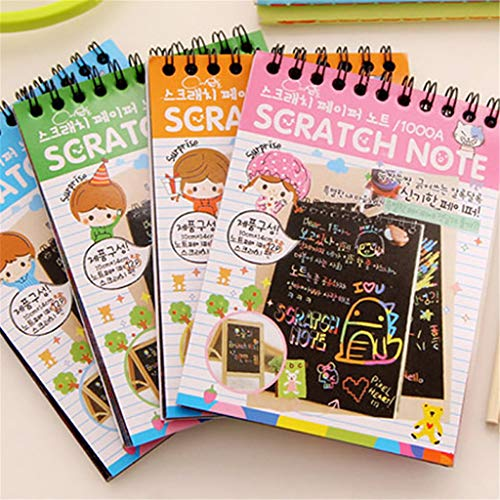 Joocyee Scratch Sketch Art Notes Rainbow Scratch Magic Doodle Notes Regalo de Actividad de Viaje niñas y niños, pequeño Libro de rasguños para niños, Entrega al Azar