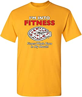 ZoDong I'm Into Fitness Whole Pizza in My Mouth Sarcastic Humor Novelty Funny T Shirt