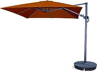 Santorini II 10-ft Square Cantilever Umbrella in Terra Cotta Sunbrella Acrylic