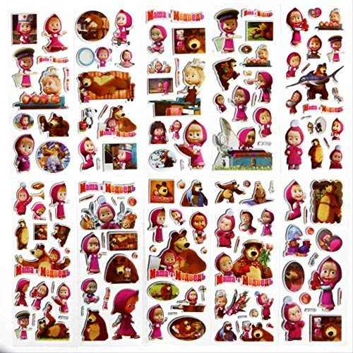 ZAQ 10 Martha Y Oso Masha Oso 3D Burbuja Pegatina Cartoon Personaje Syda Pegatinas De Recompensa Infantil