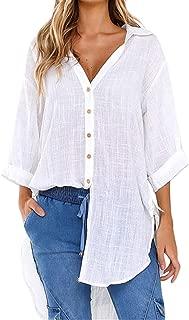 ERLOU T-Shirts Women's Summer Loose Button Long Shirt Dress Cotton Ladies Casual Tunic Tank Tops Blouse