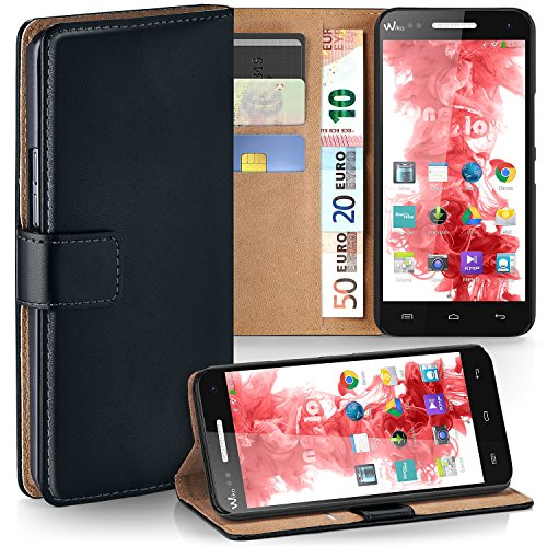 MoEx Premium Book-Case Handytasche passend für Wiko Rainbow 4G | Handyhülle mit Kartenfach und Ständer - 360 Grad Schutz Handy Tasche, Schwarz